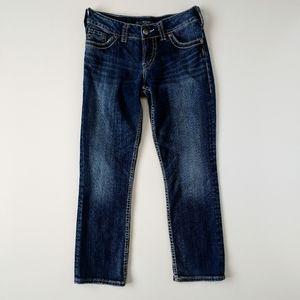 Silver Suki Capri Pants Dark Wash Faded 27 Waist